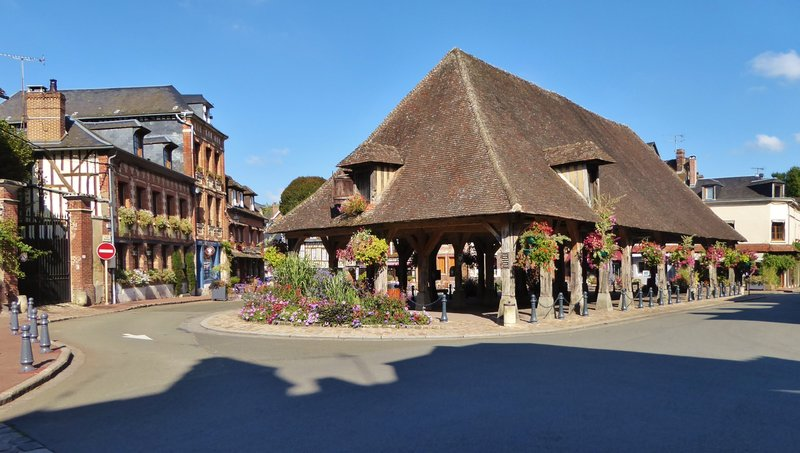 Covered Market with flowers in Lyons-la-Forêt