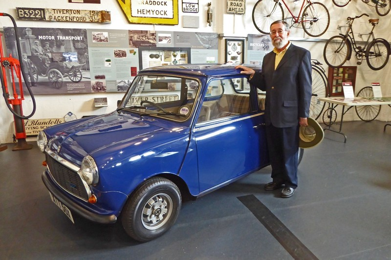 Posing with a Mini Cooper in the Tiverton Museum of Mid Devon Life