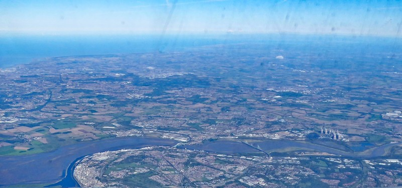 Flying over Widnes and Warrington from Manchester to San Francisco