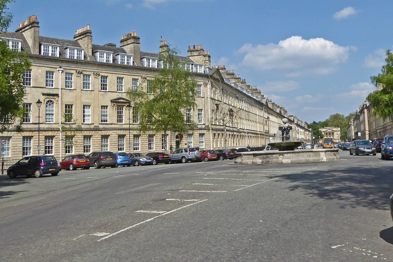 The Laura Fountain at the far end of Pulteney Bridge