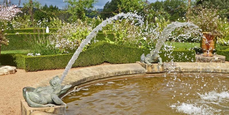 Frog Fountain in the White Garden at Eyrignac Gardens