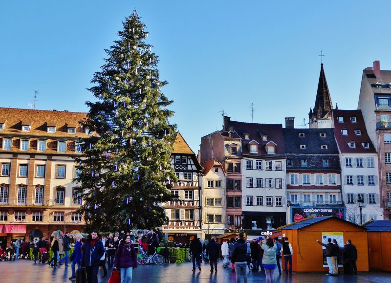 The tree and charity market at Place Kléber - Strasbourg
