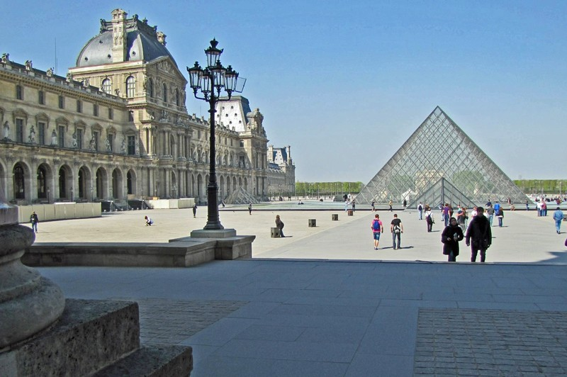 The Louvre and Pei Pyramid in Paris