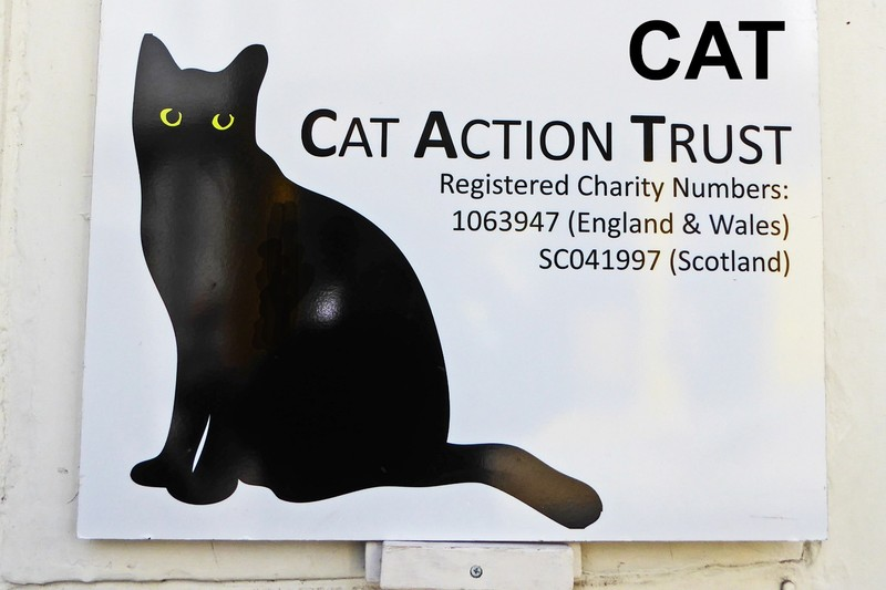 Advertising sign for a local charity in Totnes