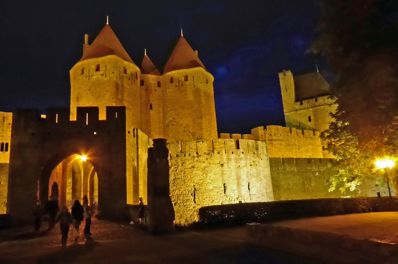 Carcassone La Cité by night at Porte Narbonnaise