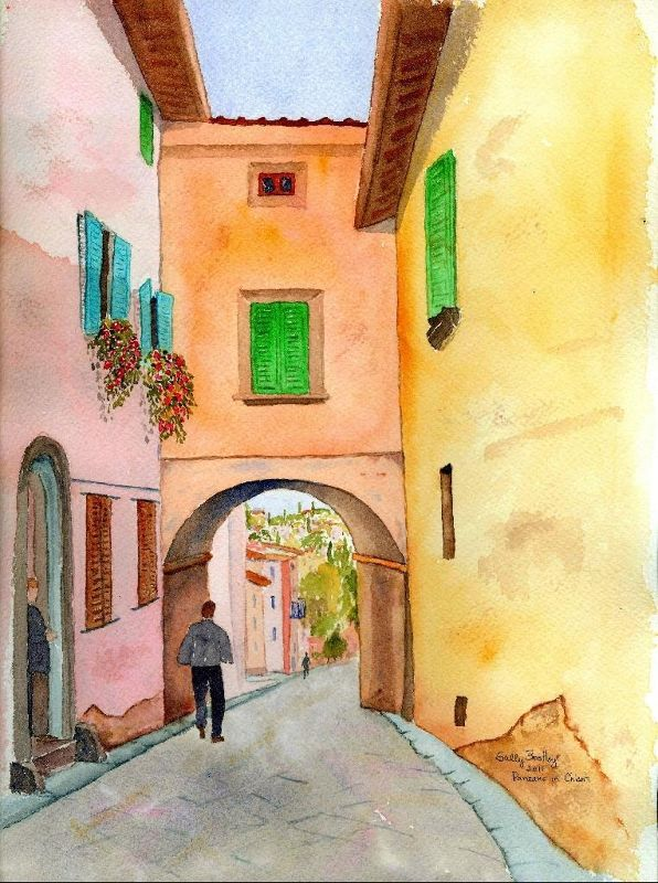 Panzano Passageway, my watercolor - Panzano, Italy