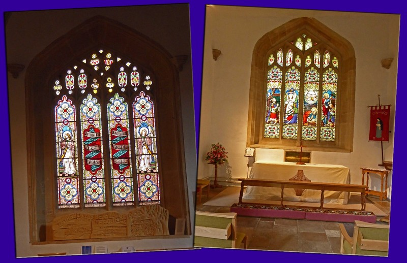 Stained Glass and an altar in St. Edward's Church