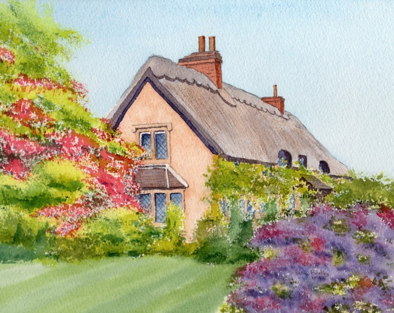 My painting of a hatched house in Sandy Lane, Wiltshire