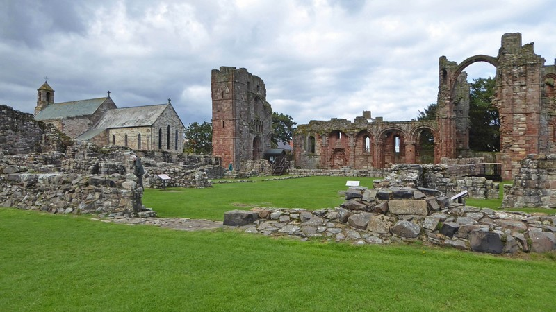 Church of Saint Mary the Virgin from inside the Priory ruins on Lindisfarne (Holy Island)