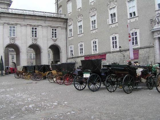 Horses and carriages waiting for customers in Salzburg