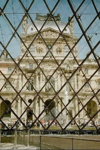 The Louvre from inside the Pei Pyramid - Paris