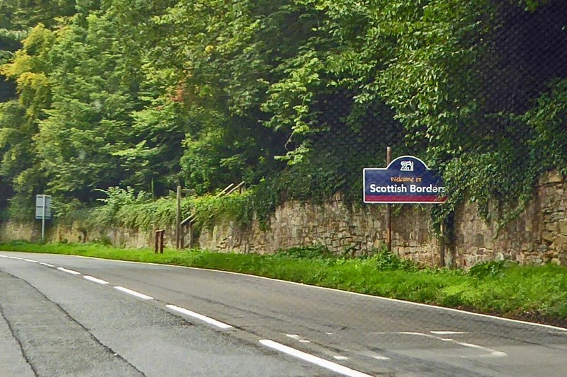 The Scottish Borders sign at Coldstream as you cross the River Tweed
