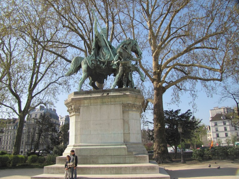 Statue of Charlemagne in front of Notre Dame de Paris