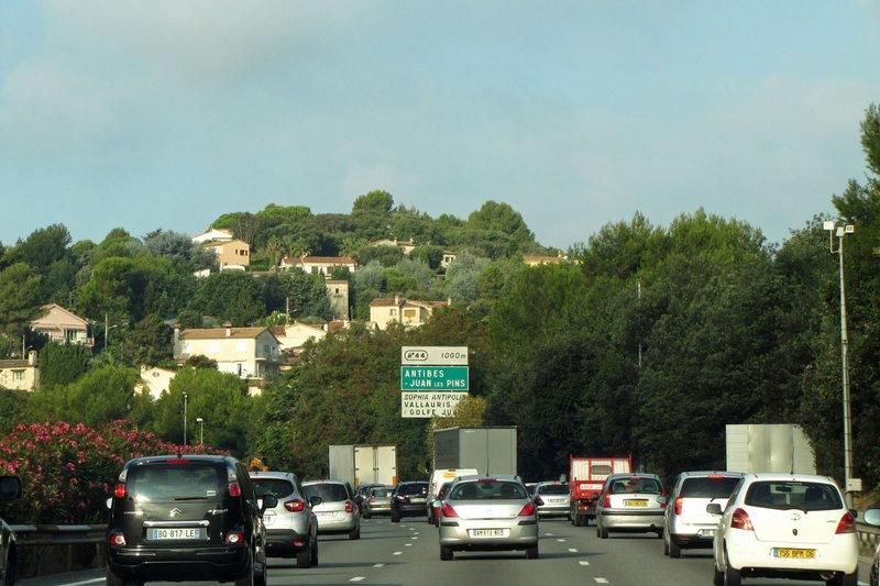 Traffic on the A8 near Nice