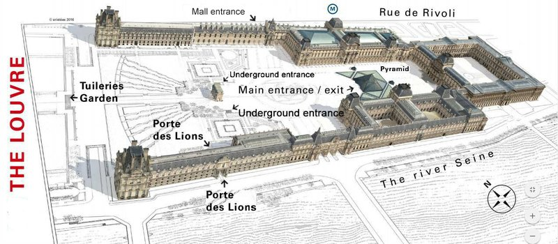Louvre Entrances that are hard to find