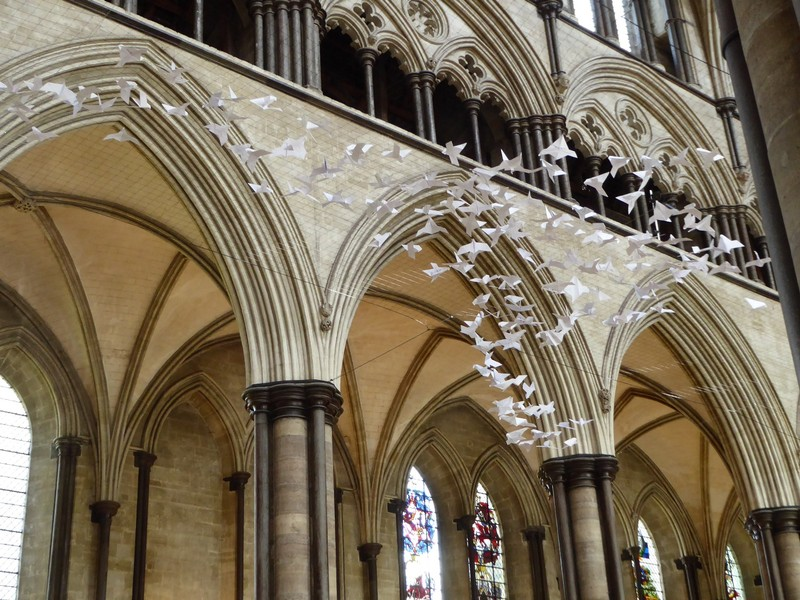 Origami Peace Doves in Salisbury Cathedral