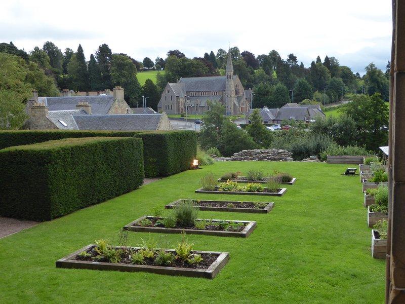 Cloister garden at Jedburgh Abbey in Scotland
