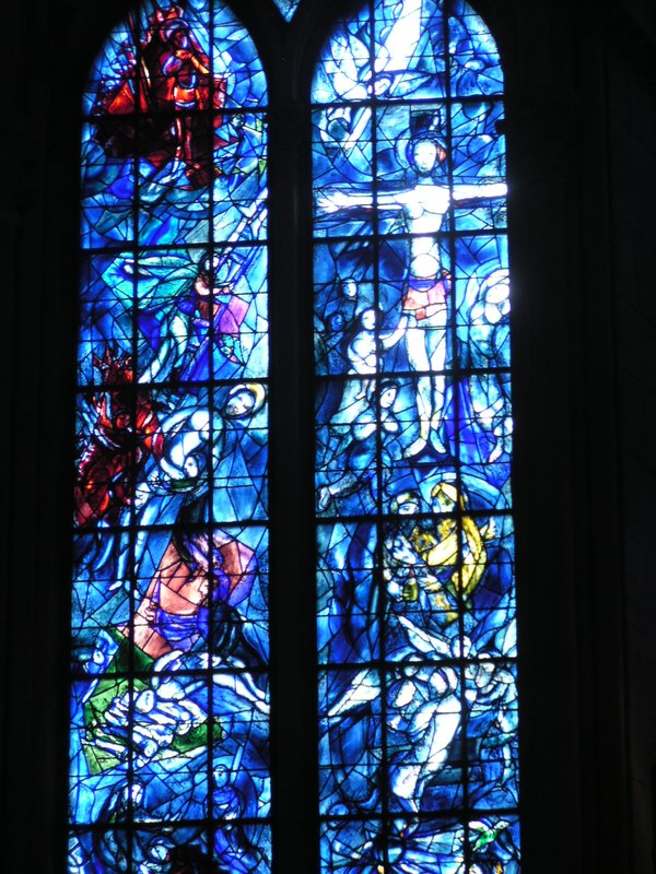 Detail of a Chagall window in Notre Dame - Reims
