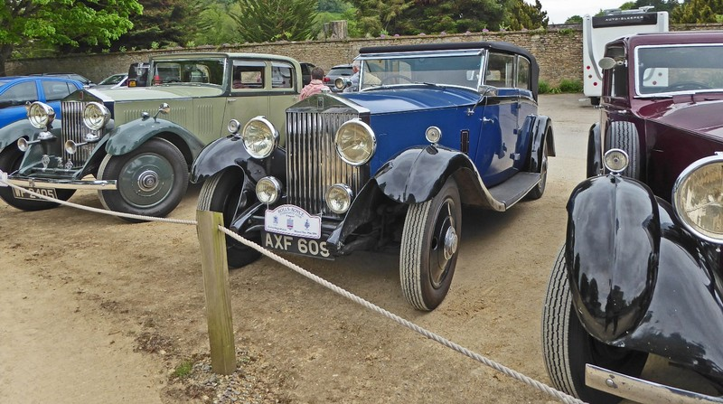 Antique Rolls Royce cars in the Montacute House parking lot
