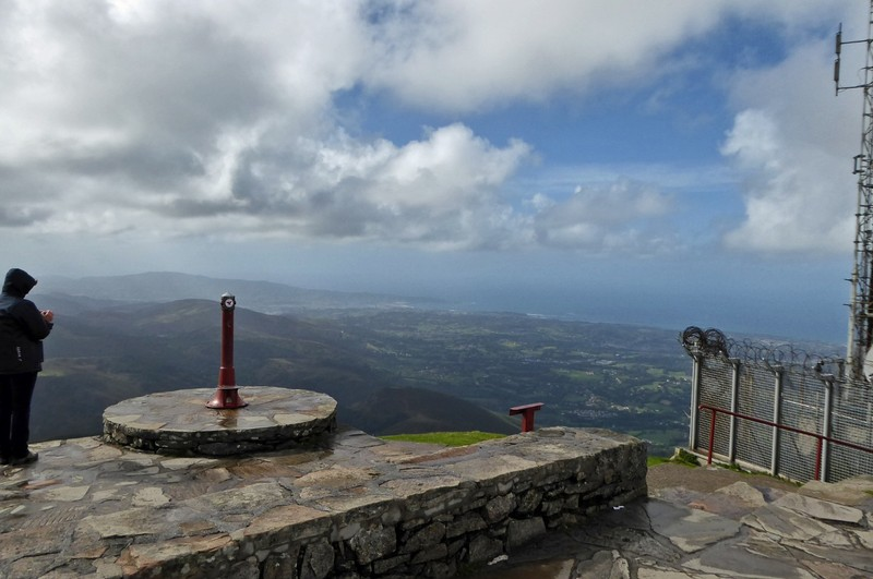 Lookout point at the La Rhune summit and the French-Spanish border