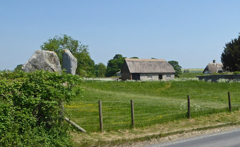 Thatched building with Standing Stones at Avebury