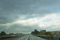 Driving through the rain near Saint-Jean-d'Angély