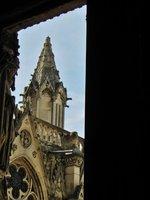 Looking out a window in Notre Dame de Paris