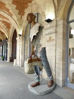 Modern sculpture outside a gallery at the Place des Vosges