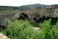 Medieval stone bridge to the Abbey in Lagrasse