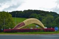 Basque pelota basket (jai lai) in the highway roundabout