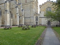 Cloisters of Exeter Cathedral (with picnic tables)