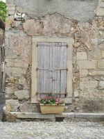 Doorway on the market square in Lagrasse