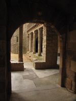 Courtyard inside the Abbey at Lagrasse