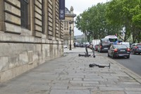 Nearing the Institut de France, you must avoid tripping over left scooters.