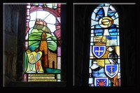 Stained glass in St. Mary the Virgin Church on Lindisfarne