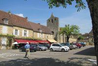 Domme, La Poste, the church and a few cafés
