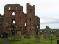 Lindisfarne Castle from behind the ruined Priory