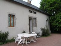 The courtyard and our picnic table at the gite in Bard-le-Régulier