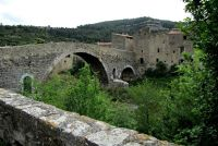 View of town and Bridge from the Abbey in Lagrasse