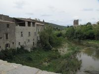 Lagrasse with the Abbey along the river