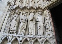 Entrance to Notre Dame - St. Denis holding his head
