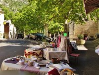 Shops by St. Mary and St. Veran Church in Fontaine-de-Vaucluse