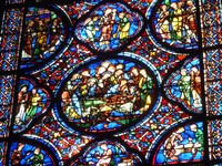 Detail of stained glass in Chartres Cathedral