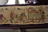 Copy of a section of the Bayeux Tapestry in Eglise St. Martin at St.-Valery-sur-Somme