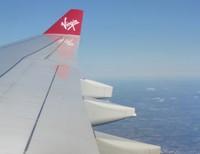 Leaving England on Virgin Atlantic Air