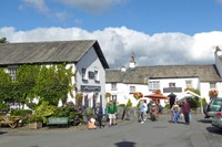 The King's Arms Inn and greater downtown Hawkshead