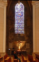 Stained Glass and a Crucifix in Chartres Cathedral