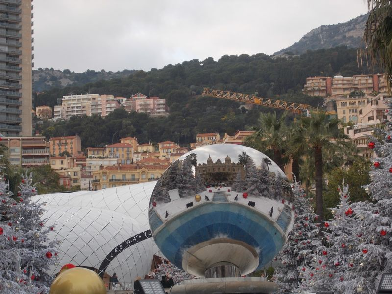 The casino reflected in a Christmas bauble. - Monaco