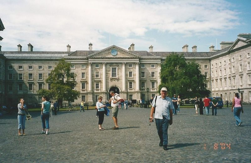 Peter outside Trinity college, Dublin. - Ireland