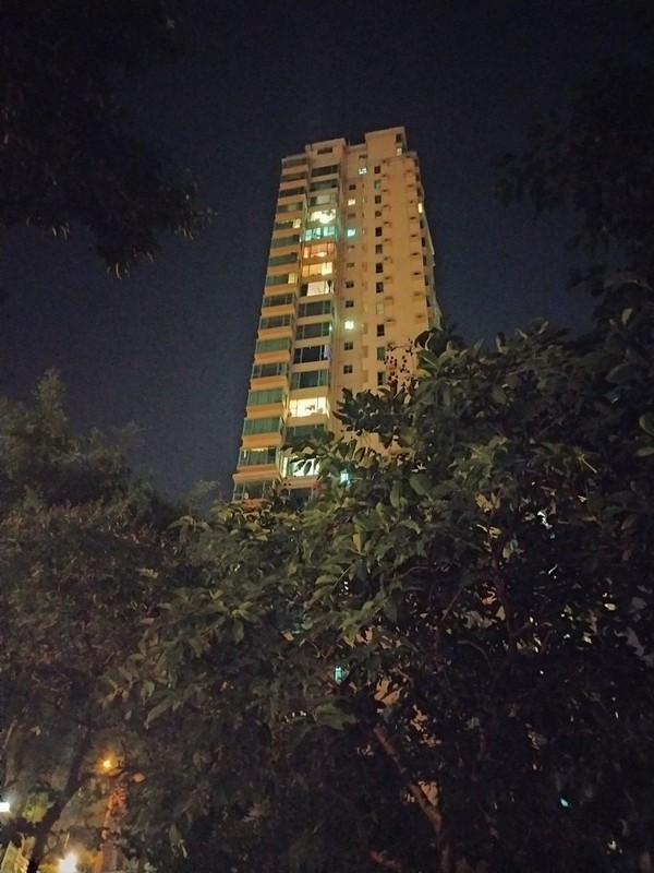 Typical Hong Kong night scenery on a residential estate.